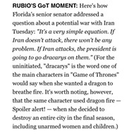 Spoilers, obviously: Rubio compares Trump to a 'Game of Thrones' villain who committed genocide