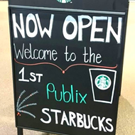 The first ever Publix Starbucks opened in the Winter Park Village location