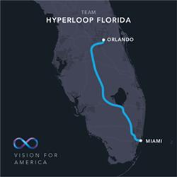 The Virgin Hyperloop One route between Orlando and Miami via Hwy 27 - HYPERLOOP ONE   FACEBOOK
