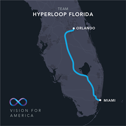 The Virgin Hyperloop One route between Orlando and Miami via Hwy 27 - HYPERLOOP ONE | FACEBOOK
