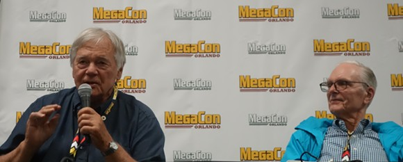 Gary Lockwood (left) and Keir Dullea participate in a Megacon panel discussion. - CAMERON MEIER