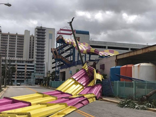 The Kraken's Quest slide after Hurricane Irma - IMAGE VIA DAYTONA BEACH POLICE DEPARTMENT
