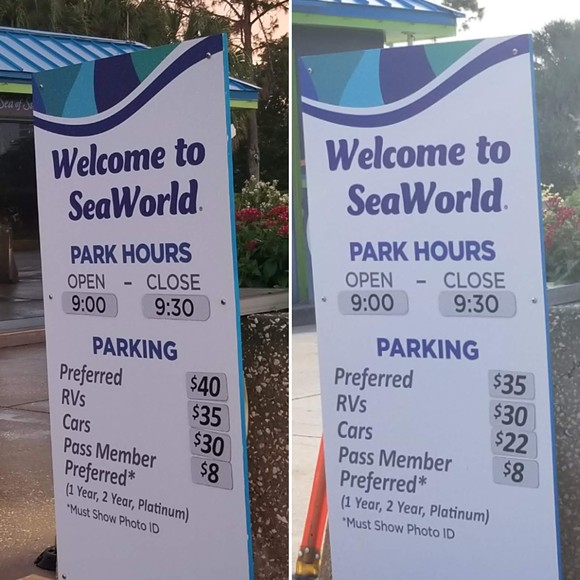 On the left is June 7th prices for parking. On the right is June 8th. Also, note the wording on the bottom of the sign that now indicates Platinum can upgrade to Preferred Parking despite their passes, at least according to the desktop site, including that level parking already. - IMAGE VIA KEN STOREY