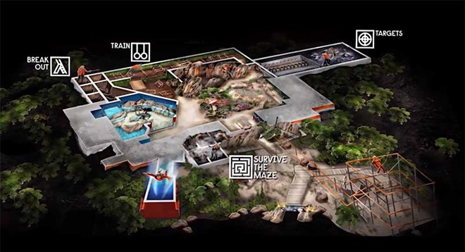 A map of the four 'basecamp' activities at the Bear Grylls Adventure - IMAGE VIA BEAR GRYLLS ADVENTURE | YOUTUBE