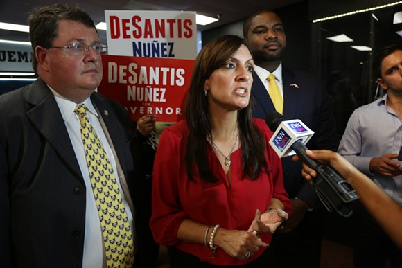 State Rep. Jeanette Nuñez speaks with reporters after a Ron DeSantis rally on Saturday. - PHOTO BY JOEY ROULETTE