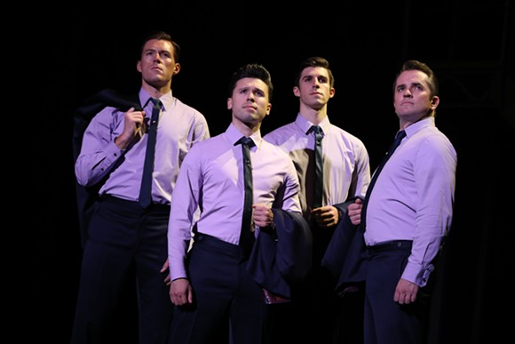 The touring cast of Jersey Boys, at Dr. Phillips Center through Nov. 4, 2018 - (l to r: Jonathan Cable, Jonny Wexler, Eric Chambliss and Corey Greenan) - PHOTO: JOAN MARCUS