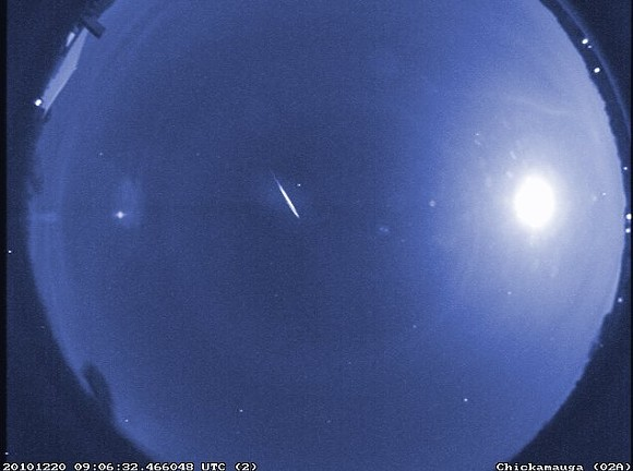 False-color image of a rare early Quadrantid, captured by a NASA meteor camera in 2010. - PHOTO VIA NASA