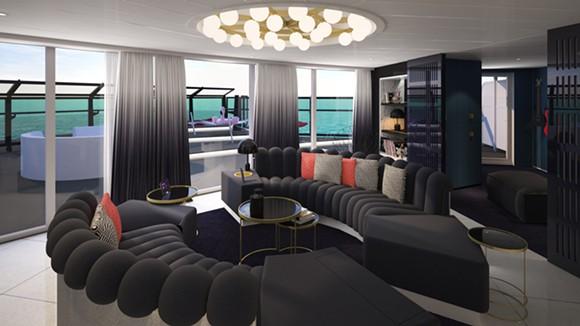 The Massive Suite's living room - IMAGE VIA VIRGIN VOYAGES