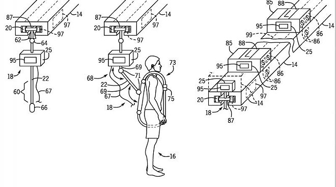 Universal's latest patent application would tether virtual reality gamers to an overhead track. - UNIVERSAL CITY STUDIOS LLC VIA WORLD INTELLECTUAL PROPERTY OFFICE