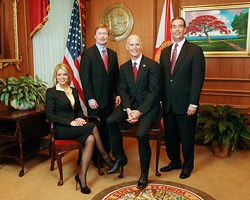 The wild bunch: (l-r) Attorney General Pam Bondi, Agriculture Commissioner Adam Putnam, Gov. Rick Scott and CFO Jeff Atwater. - VIA MYFLORIDA.COM