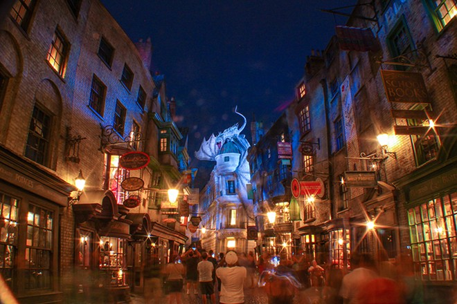 Visit the attractions of Diagon Alley and the Wizarding World of Harry Potter in the order they appeared in the books