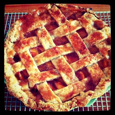 Fresh peach and ginger pie — click on that lattice crust for the recipe. - PHOTO VIA COMMUNAL TABLE