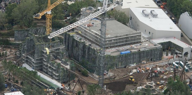 The former Dragon Challenge building with the new Hagrid themed coaster being built around it. - PHOTO VIA BIORECONSTRUCT/TWITTER