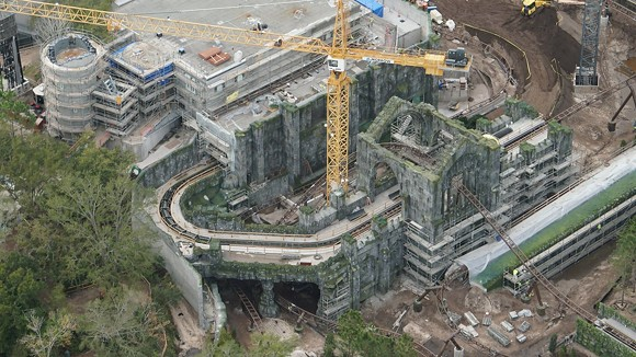 A view of the ruins with the final turn of the coaster in the foreground. - PHOTO VIA BIORECONSTRUCT/TWITTER