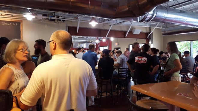 Scenes from a grand opening party. - PHOTO VIA TEN 10 BREWING ON FACEBOOK