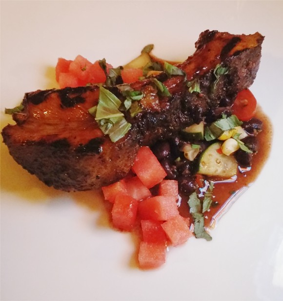 2nd Course: smoked pasture prime Kurobuta pork rib, chipotle-spiced black beans, watermelon, basil, cucumber (wine: Monte Cepas, Chardonnay, Mendoza, Argentina 2014) - PHOTO BY FAIYAZ KARA