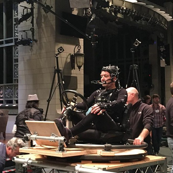Fallon on set seated in what we assume will be some kind of motorized vehicle once the folks at ILM work their spooky magic. - PHOTO VIA INSTAGRAM