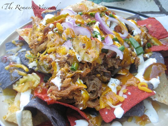 Pulled pork nachos from Yellow Dog Eats - PHOTO VIA ROMANTIC VINEYARD BLOG