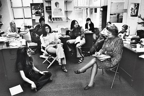 From left: Letty Cottin Pogrebin, Gloria Steinem, Margaret Sloan-Hunter, Suzanne Levine, Mary Thom, Harriet Lyons, Patricia Carbine, and Ruth Sullivan - PHOTO VIA NEW YORK MAGAZINE