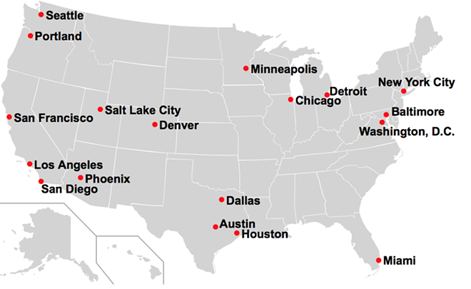 A map shows cities where local authorities don't enforce federal immigration laws - VIA WIKIPEDIA