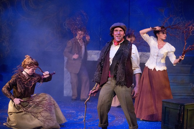 The Secret Garden: Cole NeSmith as Dickon; background: Rachel Whittington, Terry Farley and Crystal Lizardo - PHOTO BY TOM HURST