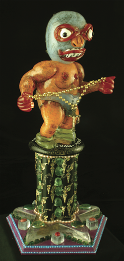 'El Luchadorcito' (blown glass, aluminum and mixed media, 2008) - PHOTO COURTESY OF DE LA TORRE BROTHERS AND MINDY SOLOMON