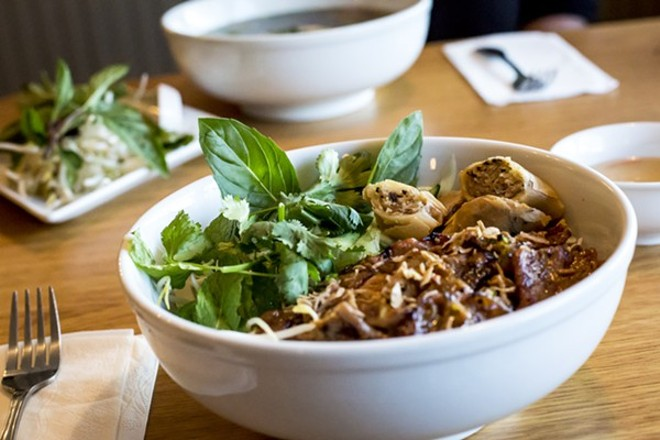 Rice vermicelli bowl: not pho, but also tasty. - PHOTO BY ROB BARTLETT