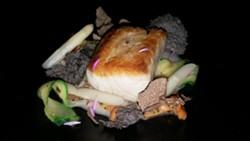 Florida Gulf Cobia, White Asparagus, Pickled Zucchini, Chanterelles, Summer Black Truffle, Huitlacoche Spongecake