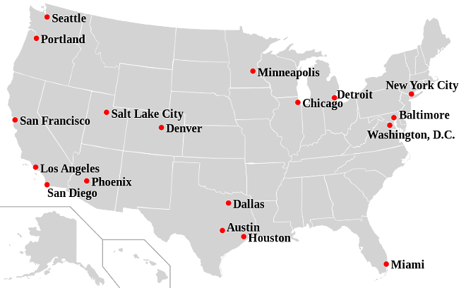 """A map from 2007 shows some cities that have adopted """"sanctuary"""" ordinances banning city employees and police officers from asking people about their immigration status. - VIA WIKIPEDIA"""