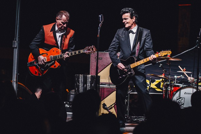 Unknown Hinson and the Reverend Horton Heat at Southern Fried Sunday's 10th anniversary (Will's Pub lot) - JAMES DECHERT