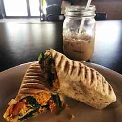 Vegan breakfast burrito at Drunken Monkey Coffee Bar - ORLANDO WEEKLY