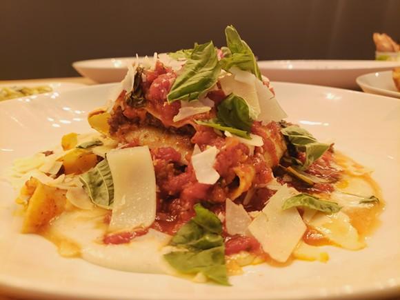 One-noodle lasagna with bechamel, beef bolognese, mozzarella, Pecorino and ricotta. - HOLLY V. KAPHERR