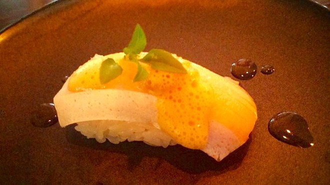 Yellowtail belly nigiri, bourbon barrel aged soy, lemongrass pesto, uni foam, globe basil