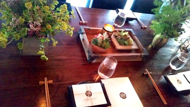 The tablescape at Seito Sushi Baldwin Park for omakase chef's table - PHOTO BY FAIYAZ KARA
