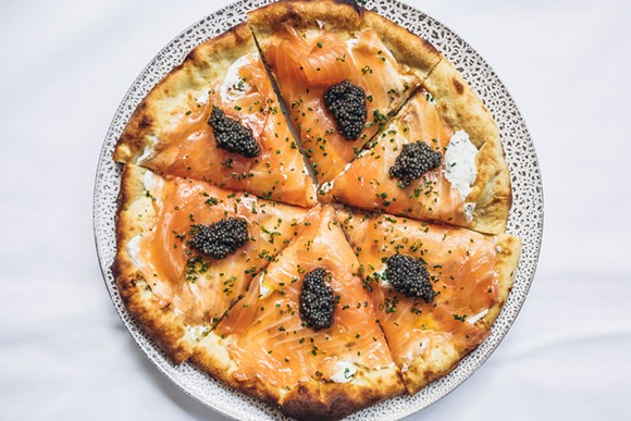 Smoked salmon pizza - SPAGO, BEVERLY HILLS