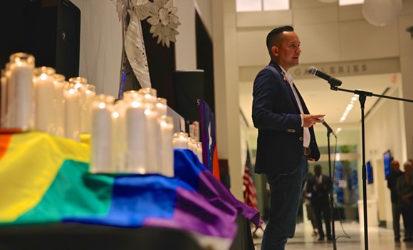 Carlos Guillermo Smith of Equality Florida speaks to Democrats at a Pulse vigil. - PHOTO BY JOEY ROULETTE