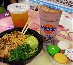 Jasmine green tea with boba, chocolate milk slush, poke bowl with wakame salad, macarons. - CLIFF ALEJOS