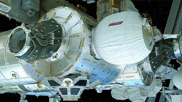 """""""The BEAM module will be attached to the rear port of the space station's Node 3. After installation, the BEAM expands to roughly 13 feet long and 10.5 feet in diameter."""" - PHOTO SOURCE: BIGELOW AEROSPACE, LLC"""