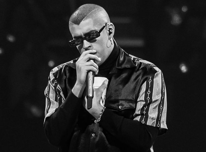 Bad Bunny performing at the Amway Center on April 11, 2019 - PHOTO BY GABRIEL PALMER