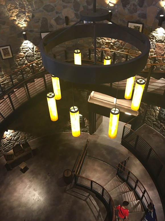 This stunning stone spiral stairwell is the lobby building's most striking feature.