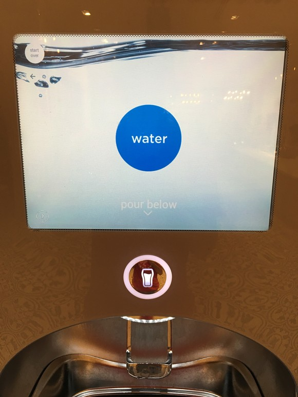 Free filtered water is available from the Coke Freestyle machine in the New Dutch Trading Co. maketplace, unlike the soda dispensers inside the theme parks.