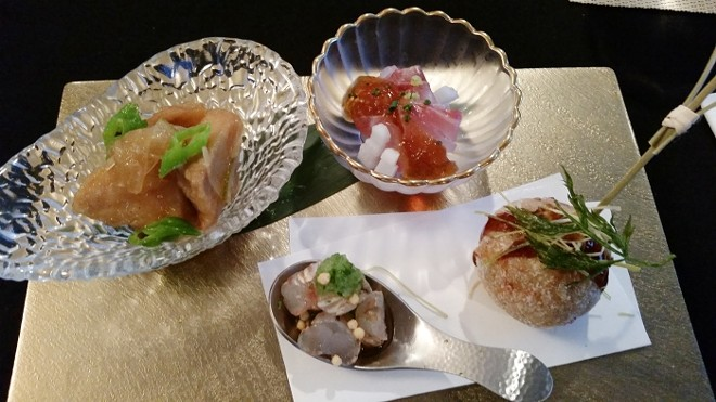 L-R: Cobia Nanbanzuke; Florida rock shrimp; striped bass kobujime-kagenzu; hirouso ball - FAIYAZ KARA