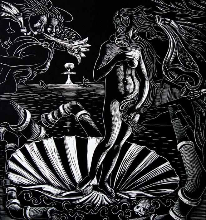 """Calavera Cañera (After Posada)"" by Carlos Barberena"