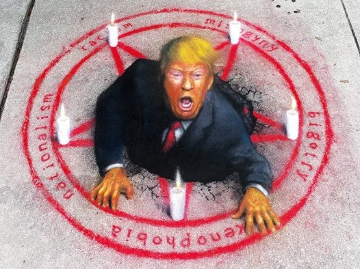 """THE SUMMONING: A COMPENDIUM OF BAD HUMAN TRAITS,"" BY JAIME MARGARY (PASTEL ON SIDEWALK, 2016)"