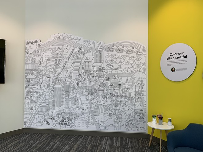 Discover Downtown visitors will be able to fill in the coloring wall. - PHOTO BY CLARISSA MOON FOR ORLANDO WEEKLY