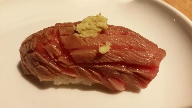 Wagyu course: Nigiri, smoked soy, fresh wasabi