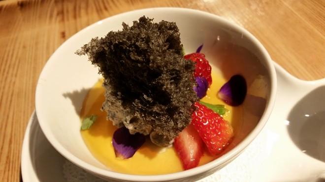 Crème caramel, black sesame cream, black sesame air cake, yuzu caramel