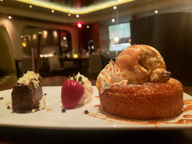 Dessert is a worth upgrade, especially the butter cake topped with butter pecan ice cream and caramel sauce (right). - HOLLY V. KAPHERR