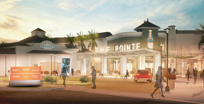 The valet area near Capital Grille and Hampton Social - IMAGE VIA POINTE ORLANDO