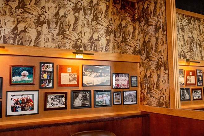 Some of Wally's infamous wallpaper was salvaged and restored - DAVID LAWRENCE